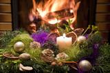 Fototapety dekoracja świąteczna przed kominkiem