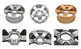 Isolated modern aluminum alloy wheels set on a white background poster