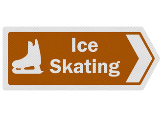 Tourist information series: photo-realistic 'ice skating' sign