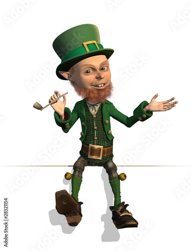 Leprechaun Sitting on an Edge - 3D render