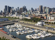 Montreal skyline and marina, aerial view, Canada