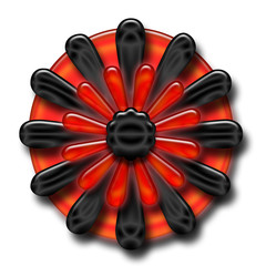 Red and Black Flower Button
