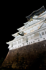 night time view of osaka castle in japan