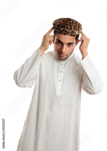 Ethnic man in robe and hat