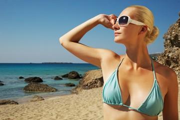 Beautiful woman relaxing on the beach