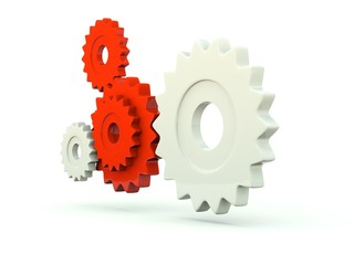 Gears isolated on white. Red series