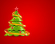 Christmas glossy tree with red star vector card