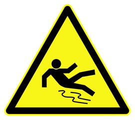 Slippery floor hazard symbol