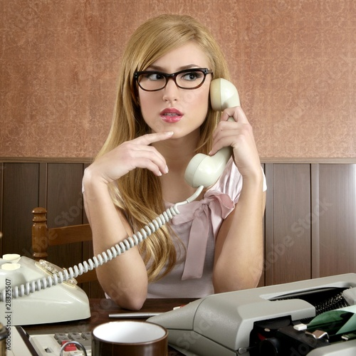 beautiful retro businesswoman vintage secretary