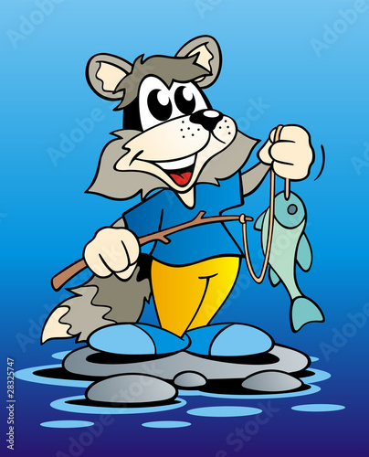Racoon with Fishing Rod
