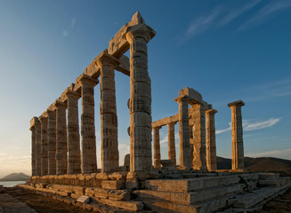 Temple of Poseidon at sunset, Cape Sounion, Greece