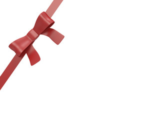 Red gift ribbon isolated on white with clipping path