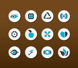 Set of black and blue icons. Vector