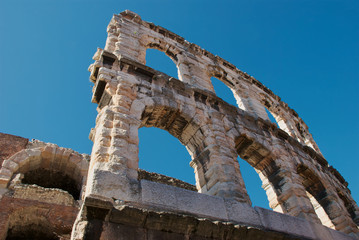 Detail of Roman amphitheatre in Verona