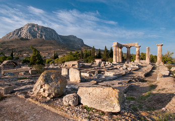 Ruins of Temple of Apollo, Ancient Corinth, Greece