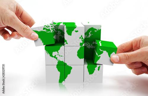 imagen conceptual con puzzle 3d y mapa del mundo