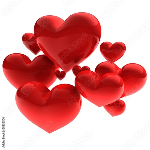 3D render - sweet beautiful hearts on white background