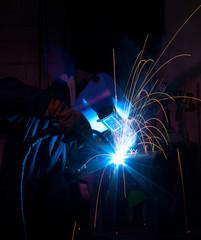 MIG welder with bright light