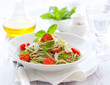 spaghetti with  pesto and tomato