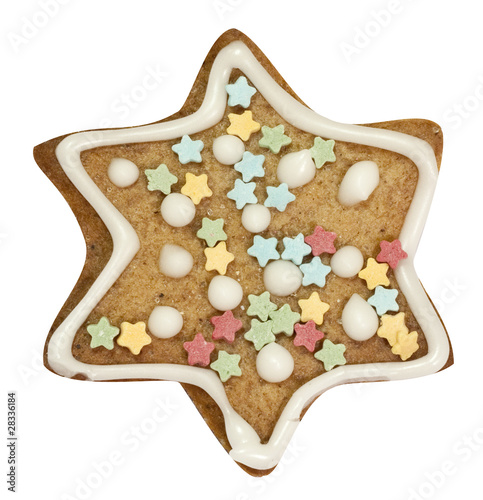Star gingerbread cookie isolated on white with clipping path