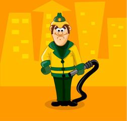 мультяшный забавный пожарник
