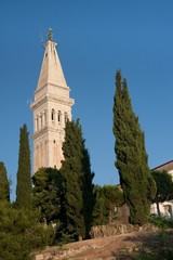 Church tower of St. Euphemia Church, Rovinj, Croatia