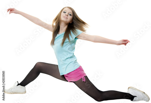Girl broadly strides on white background