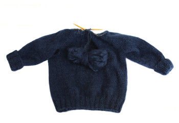 Unfinished homemade blue mohair sweater