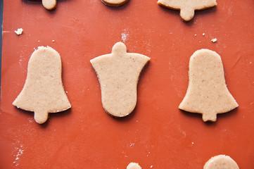 Uncooked gingerbread bells