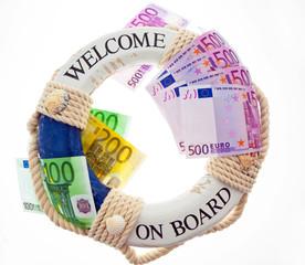 Rettungsring und Euro. Rettung Griechenland.