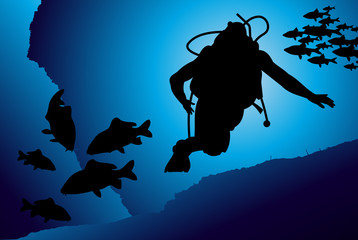 Scuba diving vector background