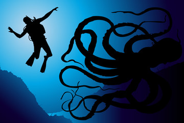 Scuba diving vector background with octopus monster