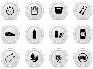 Web buttons, exercise equipment icons