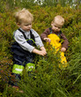 Small children (1 and 3) picking bilberries.
