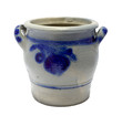 Danish retro painted blue ceramic urne