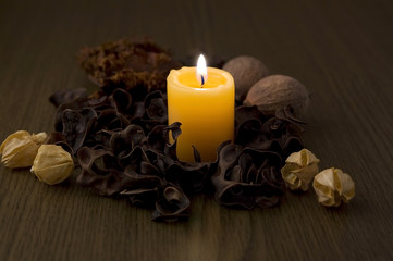 火を灯したキャンドルと香料