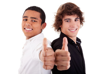 two young man of different colors, with thumb up