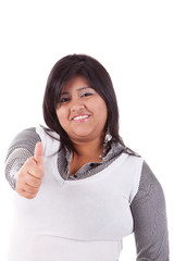 happy large  latin woman, with thumb up