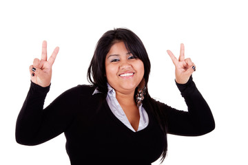 happy large  latin woman, with thumbs raised