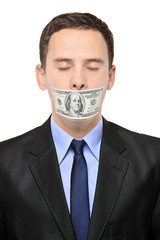 Man with a 100 dollar banknote on his mouth