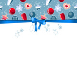Blue Christmas frame with bow and contour balls