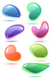 Ten modern glass speech bubbles. Different shapes and colors