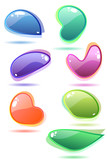 Ten modern glass speech bubbles. Different shapes and colors poster