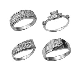 Set of  jewelry rings with brilliants