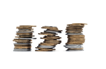 3 stack of the coins isolated