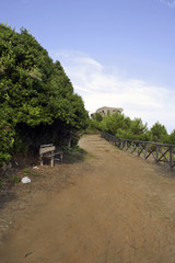 Path to the hill with wooden bench and turret
