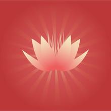 Fleur de lotus sur fond rouge avec des poutres radiales