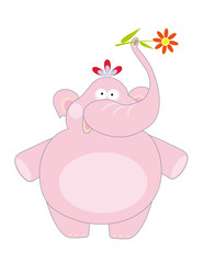 big pink elephant and flower