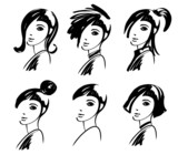 woman hair style fashion drawings poster