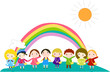 cartoon children and rainbow